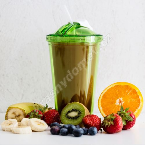 Hrnek s brčkem SAGAFORM Fresh Smoothie Mug, 450ml, zelený